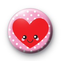 Heart Smiley Face Pink Badges