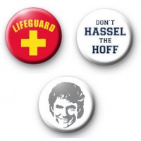 Set of 3 David Hassel Hoff Button Badges