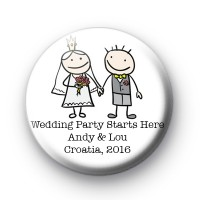 Holding Hands Custom Wedding Badges