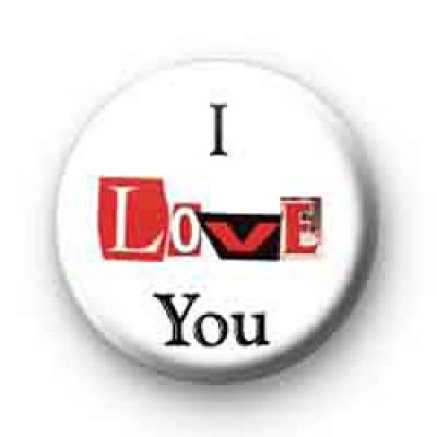 I Love You Paper Letters Badge