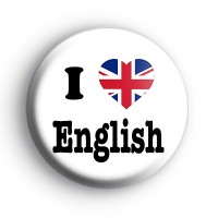 I Love English Union Jack Heart Flag Badge