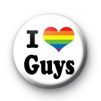 Rainbow Heart I Love Guys Button Badges