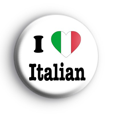 I Love Italian Love Heart Flag Badge