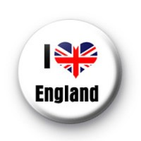 I Love England Button Badges