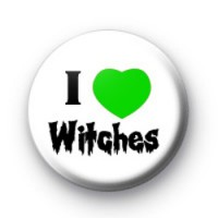 I Love Witches Green Heart Badges