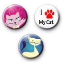 Set of 3 Cat Lover Button Badges