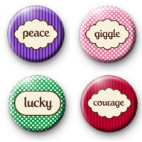 Set of 4 Inspirational Words Button Badges