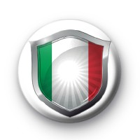 Italy Flag Crest Button Badge