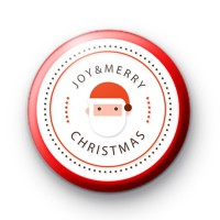 Santa Joy and Merry Christmas Button Badge