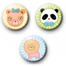Set of 3 Cute Kawaii Animals Badges