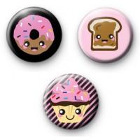 Set of 3 Cute Kawaii Sweet Treat Badges