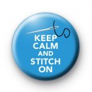 Keep Calm and Stitch on Blue badge
