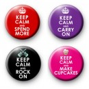 Set of 4 Keep Calm Themed Badges