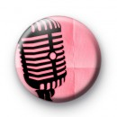 Pink Microphone Button Badge