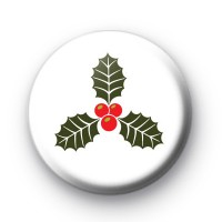 Traditional Festive Holly Button Badge