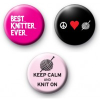 Set of 3 Knitter Button Badges