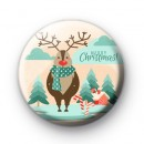 Reindeer in Lapland Button Badge
