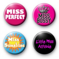Set of 4 Miss Button Badges