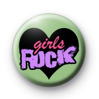 Girls ROCK Heart Button Badge