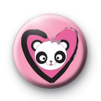 Love Heart Panda Bear Badge