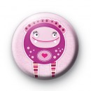 Pink Love Monster Button Badges