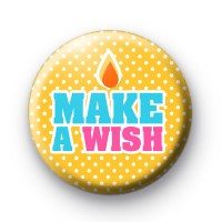 Yellow Make a Wish Button Badges