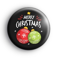 Black Merry Christmas Baubles Badge