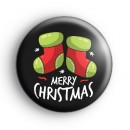 Black Merry Christmas Stockings Badge