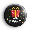 Black Merry Christmas Present Badge