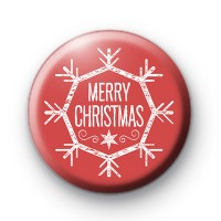 Red and White Merry Christmas Snowflake Badge