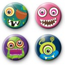 Set of 4 Monster Button Badges