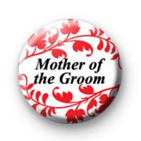 Red Floral Pattern Mother of the Groom Badges