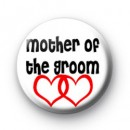 Red Love Hearts Mother of the Groom Badges
