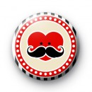 Moustache Heart Face Red Badge