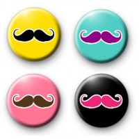 Set of 4 Moustache Badges Movember thumbnail