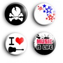 Set of 4 Music Is Life Badges