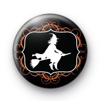 Witch on a Broomstick Halloween Badge
