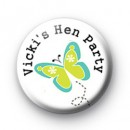 New Custom Butterfly Hen Party Badge