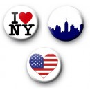 Set of 3 New York Button Badges