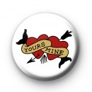 Tattoo Style Hearts Pin Badge