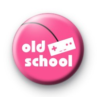 Pink Old School Button Badges