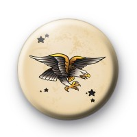 Old School Golden Eagle Tattoo Button Badges