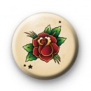 Old School Red Rose Tattoo Button Badges