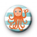 Orange Octopus Button Badges