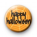 Happy Halloween Orange Spiders Web badge