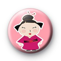 Pink Cute Oriental Girl Badge