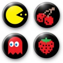 Set of 4 Retro Pacman Button Badges