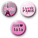 Cute set of 3 Parisian Button Badges