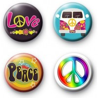 Set of 4 Peace button badges