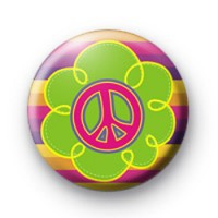 Cute Peace Flowers Button Badge